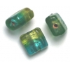 Glass Beads 10mm Square Flat Two Tone Olivine/Teal Foiled
